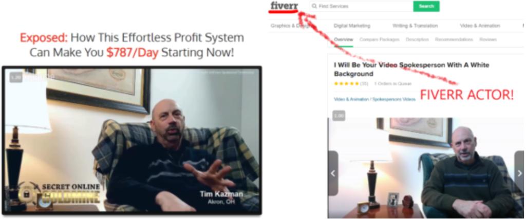 Secret Online Goldmine Review Fake Actors