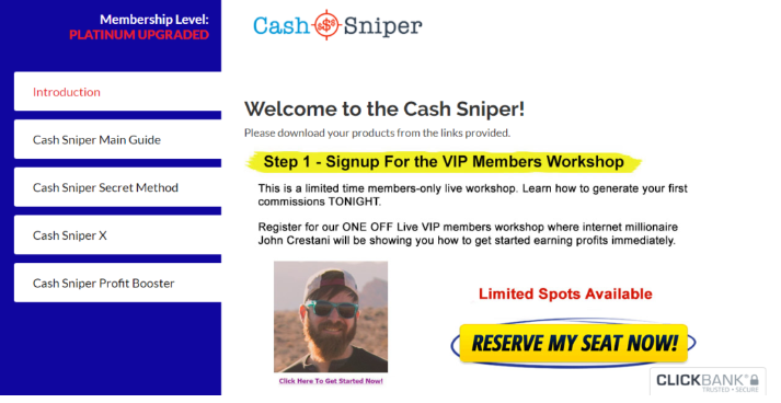 Affiliate Marketing Cash Sniper Upsell