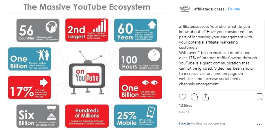 Affiliated Success Instagram Post on YouTube