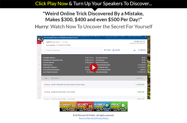 Affiliate Marketing 22 Minutes To Profits Marketing Video Landing Page