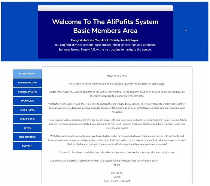 Affiliate Marketing Aliprofits System Members Area
