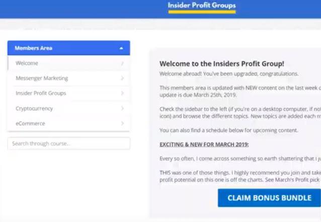 Affiliate Marketing Insider Profit Groups Members Area