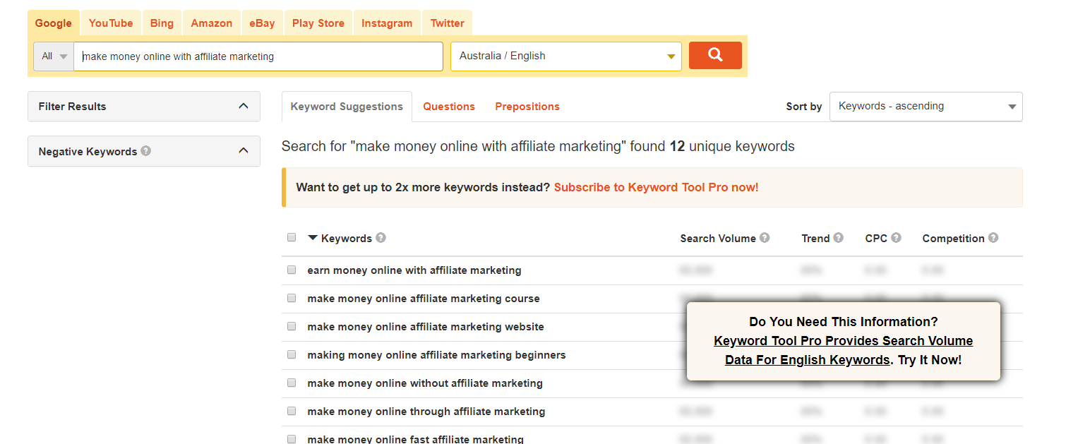 Affiliate Marketing SEO Keyword Tool