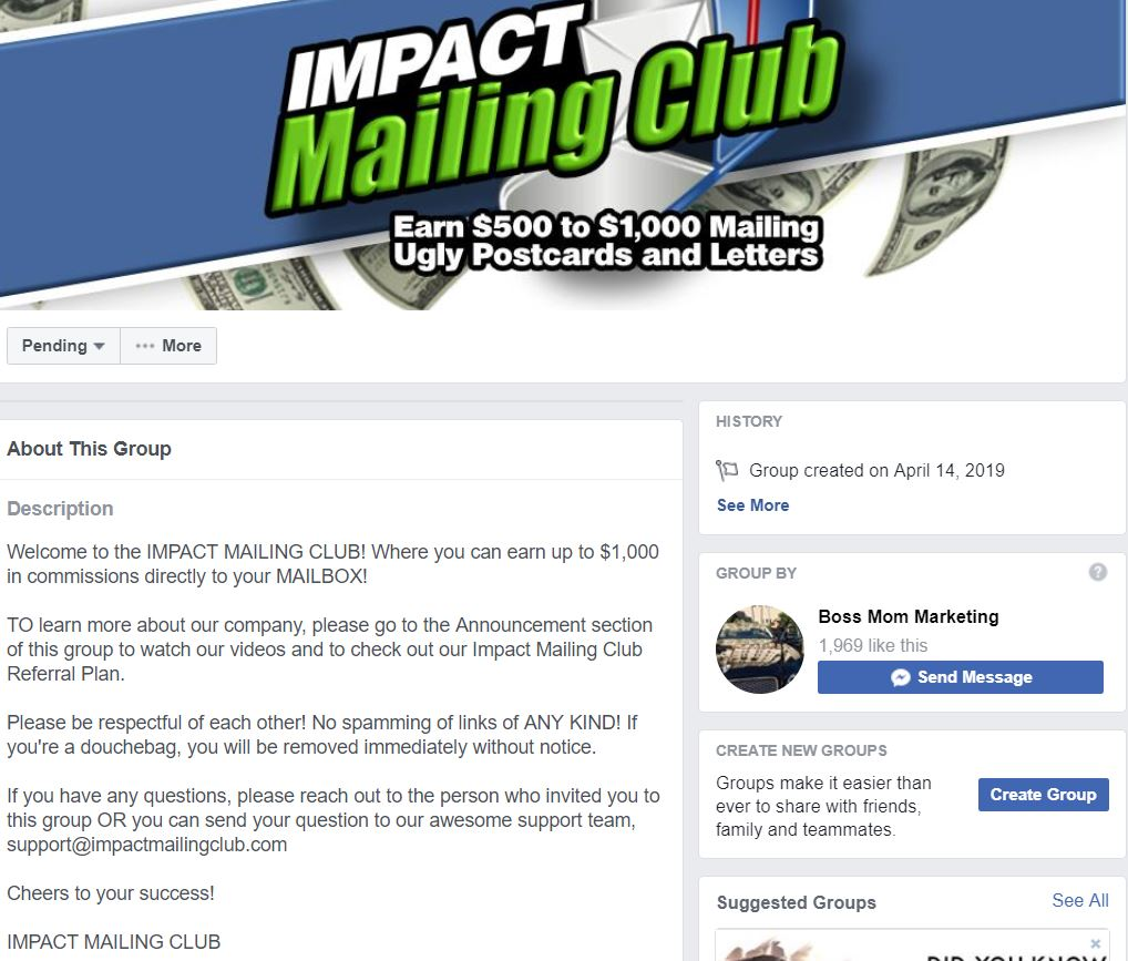 Affiliate Marketing Impact Mailing Club Facebook Group