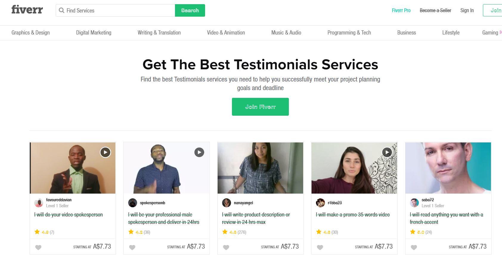 Affiliate Marketing Profit Point Autonomy Fiverr Fake Testimonials