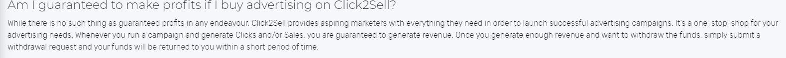 Affiliate Marketing Click2Sell Profit Guarantee