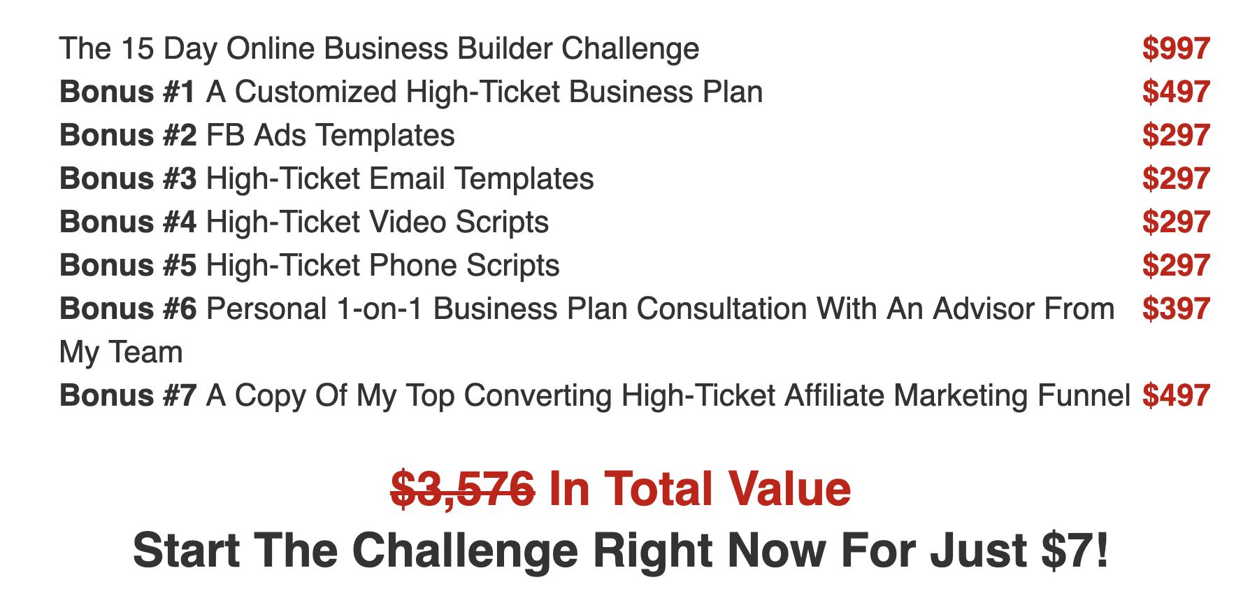 15 Day Business Builder Challenge Legendary Marketer Full Value Offering