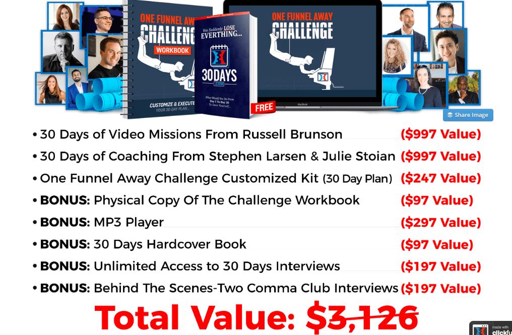 Affiliate Marketing ClickFunnels One Funnel Away Challenge Bonus Stack