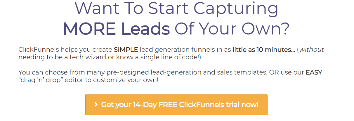 Affiliate Marketing ClickFunnels Lead Funnels 14 Day Trial Offer