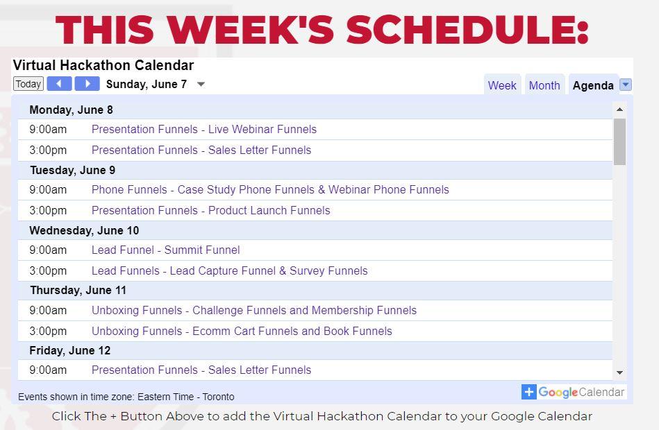 Affiliate Marketing ClickFunnels Virtual Hackathon Agenda