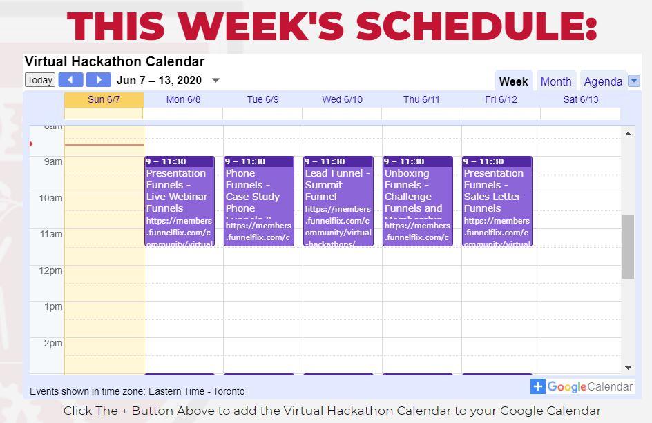 Affiliate Marketing ClickFunnels Virtual Hackathon Schedule