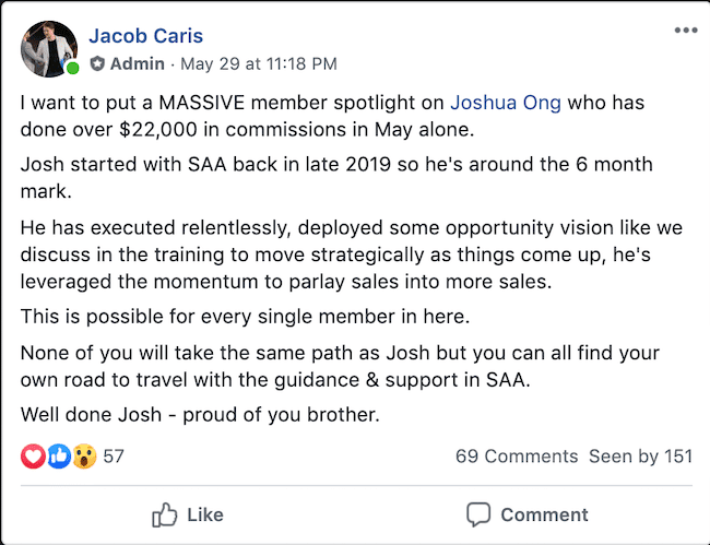 Jacob Caris Super Affiliate Accelerator Review Joshua Ong