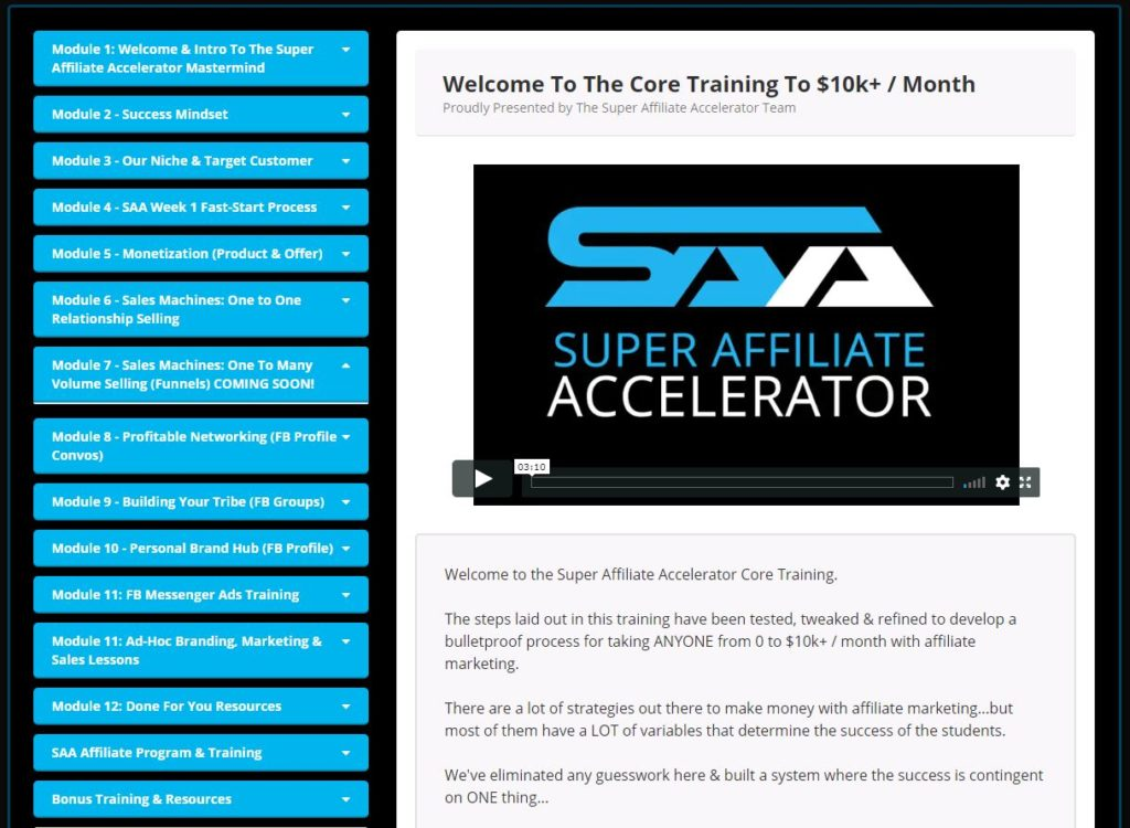 Super Affiliate Accelerator Review Video Training Course Overview