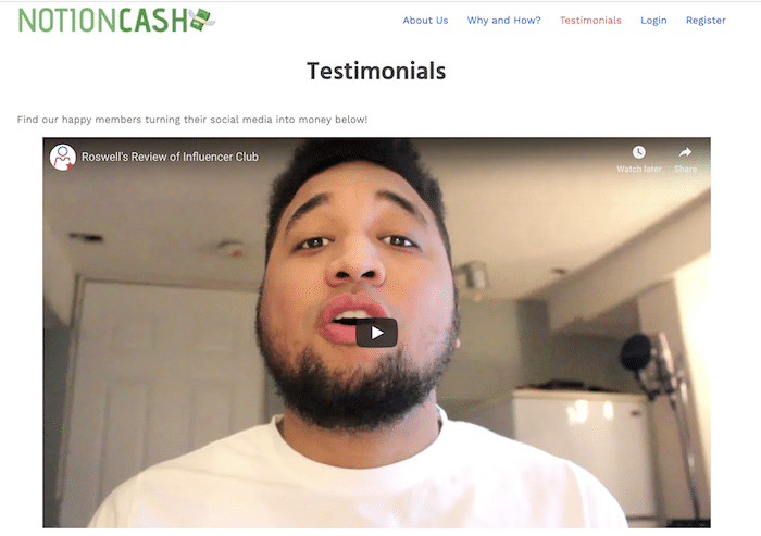 Affiliate Marketing Notion Cash Testimonial