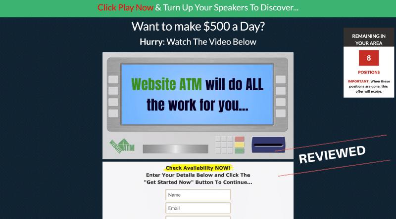 Affiliate Marketing Website ATM Homepage