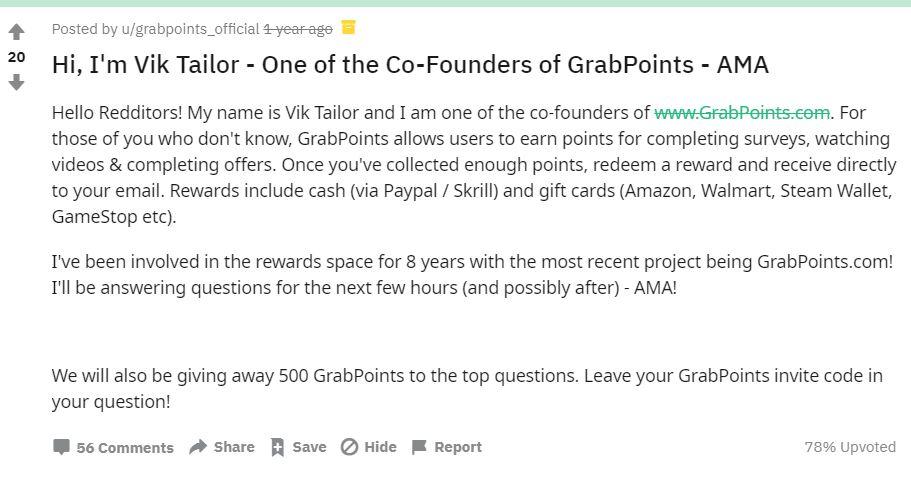 Affiliate Marketing GrabPoints Vikas Tailer AMA Reddit Thread