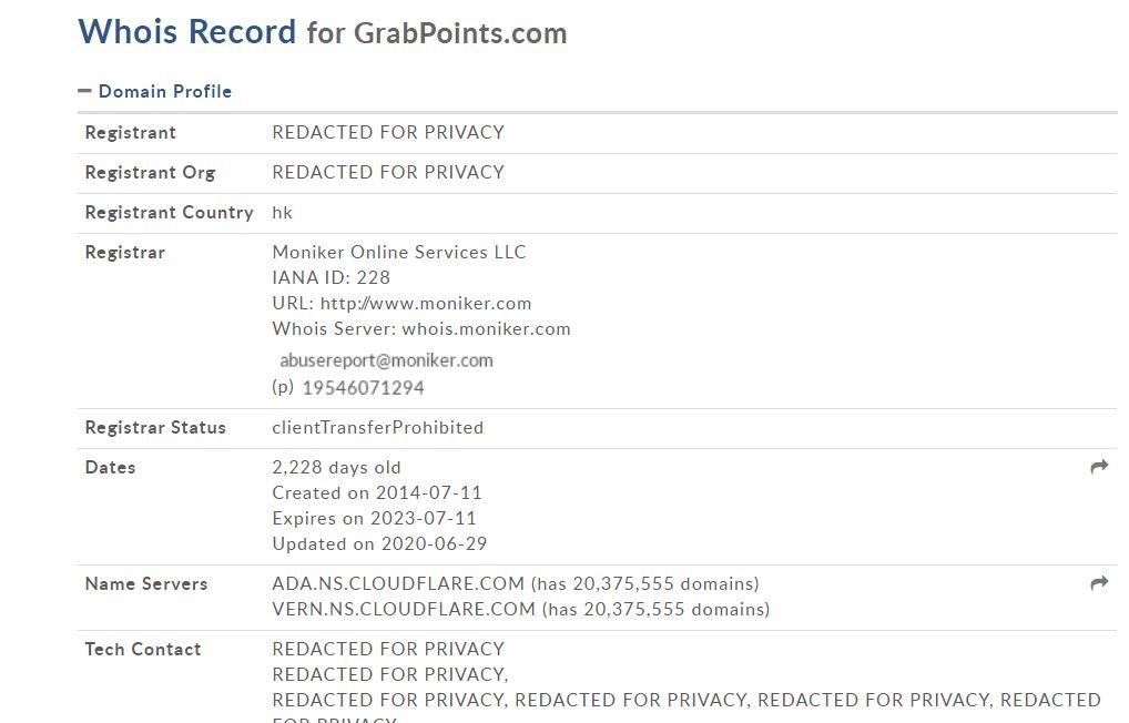Affiliate Marketing GrabPoints WhoIs Record