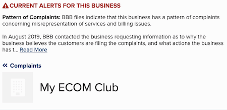 Affiliate Marketing My eCom Club BBB Complaints