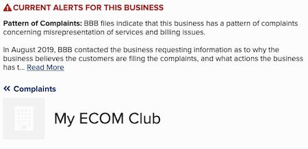 Affiliate Marketing My eCom Club BBB Complaints