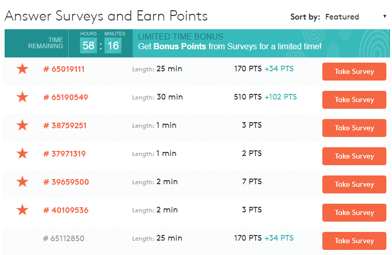 Affiliate Marketing MyPoints Suvery List Bonus Points