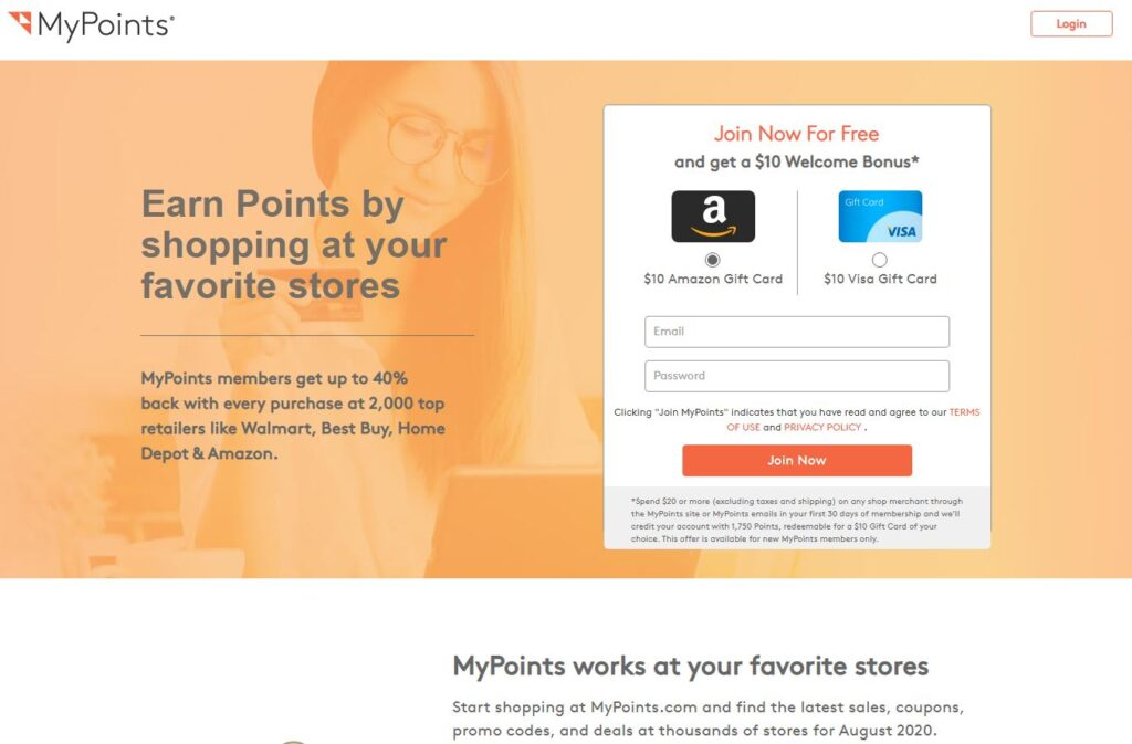 Affiliate Marketing MyPoints Website Homepage