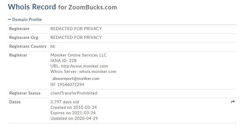 Affiliate Marketing ZoomBucks WhoIs Record
