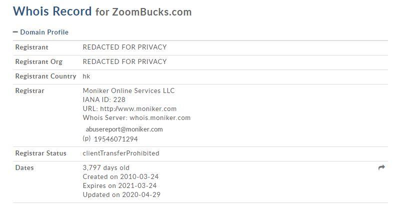 Affiliate Marketing ZoomBucks WhoIs Record